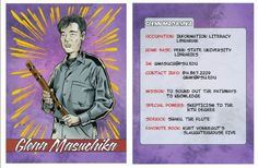 Penn State Librarians Create Their Own Superhero Trading Cards Information Literacy, Kurt Vonnegut, Caricature, Trading Cards, Projects To Try, Knowledge, Librarians, Baseball Cards, Learning
