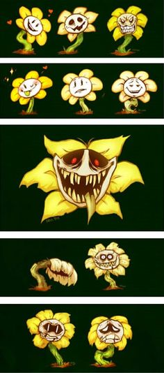 The many faces of flowey, unknown artist | undertale