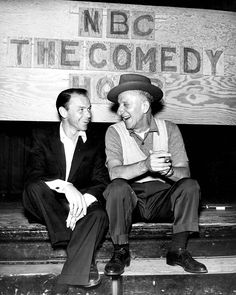 Frank Sinatra & Jimmy Durante in rehearsal for Colgate Comedy Hour, 1953