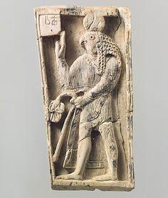 Plaque with a falcon-headed figure (Ivory)  [Mesopotamia, Nimrud (ancient Kalhu), ca. 9th-8th century B.C.]