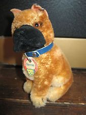 Vintage Steiff Sarras Boxer Puppy Dog with Tag, 4 1/2 inches tall. 1950's/ 60's