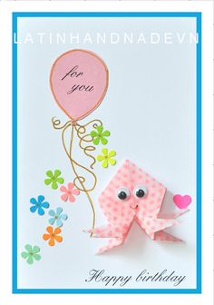 Origami Octopus Birthday Cards - Funny I Love You Cards - Boyfriend gift for girlfriend Cards. Printable  Birthday Cards - Instant Download by LATINHANDMADEVN on Etsy