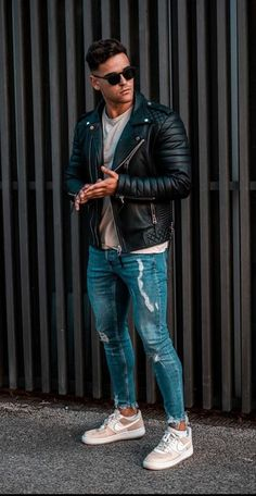 Nike Outfits, Cool Outfits, Casual Outfits, Leather Jacket Outfits, Summer Outfits Men, Casual Wear For Men, Mens Clothing Styles, Stylish Men, Menswear