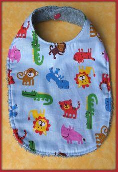 Bavoir en tissu coton motif animaux dela jungle tissu éponge : Mode Bébé par orkan28