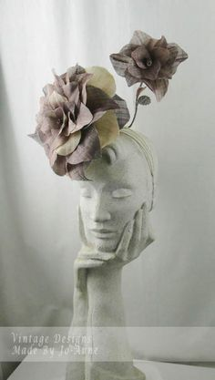 @joannevintage creates elegant silk abaca roses #millinery with help from Amanda Macor Hat Academy Course.