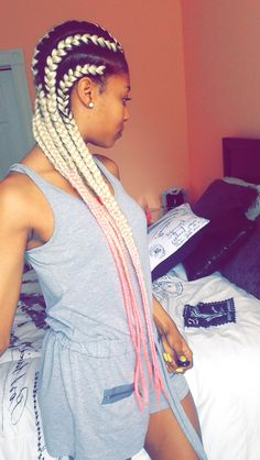 Black Women Protective HairStyles. These Blonde and Link Ombre Braids are life. #cornrows #colorfulhair