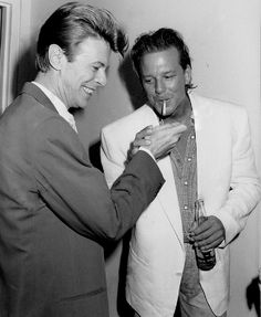 """Bowie and Mickey"" Not too many people know but Mickey Rourke rapped on David Bowie's song ""SHINING STAR (Making My Love)"" back in Mickey Rourke, The Thin White Duke, David Jones, Bambi, Belle Photo, Peter Pan, Flower Power, My Idol, Actors & Actresses"