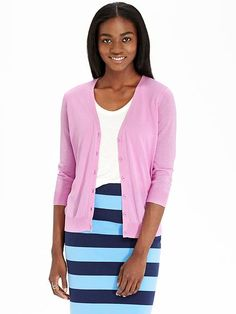 Women's 3/4-Sleeved V-Neck Cardigans