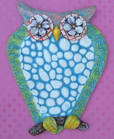 Decorative ceramic Owl Textured Owl with sea by KarenFincannon, $62.00