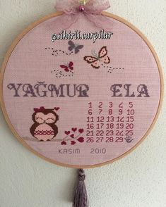 Calendar with birthday board owner @ Waiting for 3 other friends next to Birthday Board, Cross Stitch Patterns, Embroidery, Sewing, Crochet, Cross Stitch, Birth Chart, Cases, Crosses