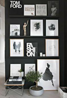 Wandgestaltung Schwarz Weiß Wohnzimmer Einrichten Akzentwand