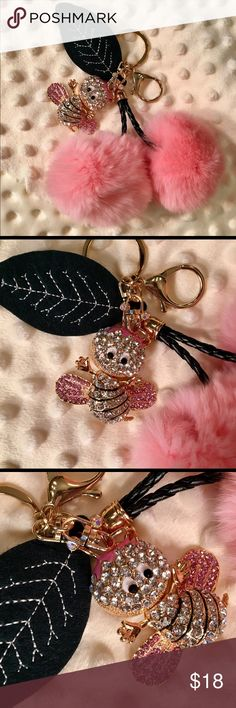 """NEW Pink Mink Cherries & Rhinestone Bee Keychain! NWOT! Pretty in Pink Genuine Rex Rabbit Pom Pom Cherries with Dark Green Felt Leaf Keychain/Bag Charm!  Fluffy Cherries have Black Braided Stems, Approx. 2.25"""" in diameter each, with Sparkly Rhinestone Pink & AB Darling Bee! Made with Gold Tone Lobster Claw Clasp & Split Ring! All the keychains I'm selling are really nice & one-of-a-kind! Poms are much nicer than the picture. From non-smoking home. Accessories Key & Card Holders"""