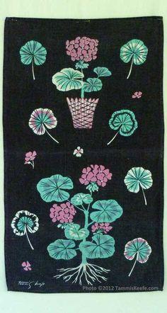 Vtg 50s 60s NEW Mid Century Veggies Pure Linen Kitchen Hand Dish Tea Towel 16x29