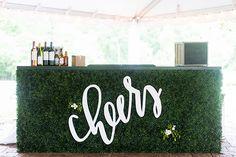 Boxwood bar at this Boxwood Mims House Wedding by Sara Logan Photography