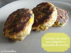 Tortitas de atún con jalapeño y hojuelas de avena. Aquí la receta: www.recomelona.wordpress.com Dale click!