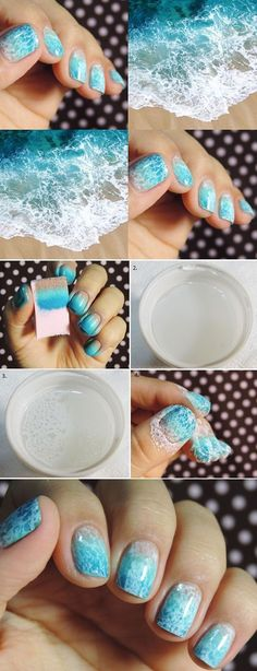 Cool Nail Art Ideas - Beach Wave Nails Tutorial - Saran Wrap Manicure Nail Design Tutorial - Fun and Easy DIY Nail Designs - Step By Step Tutorials and Instructions for Manicures at Home - Manicure Nail Designs, Cute Nail Designs, Nail Manicure, Diy Nails, Manicures, Nails Design, Nail Polishes, Gel Nail, Diy Beach Nails