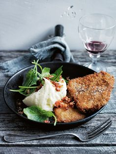 beef and horseradish schnitzel with deconstructed colcannon | donna hay magazine