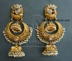Latest Indian Gold and Diamond Jewellery Designs: Nakshi work diamond Pearl jhumkas