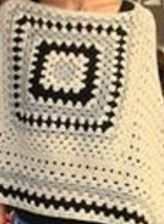Cómo tejer un poncho rectangular con ganchillo con cuadro y punto granny o punto de abuelita, paso a paso con moldes