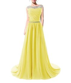 Tngan Beaded Straps Bridesmaid Prom Dresses with Sparkling Embellished Waist Yellow XL - Brought to you by Avarsha.com