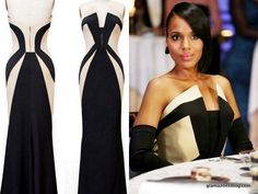 "Olivia Pope's Rubin Singer Black and Ecru Strapless 4-ply Silk Crepe Gown - Fall 2014   Episode 305 - ""More Cattle, Less Bull"".  Retails for $3,875."