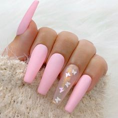 Coffin Nails Ombre, Bling Acrylic Nails, Simple Acrylic Nails, Best Acrylic Nails, Simple Nails, Glitter Nails, Long Square Acrylic Nails, Glow Nails, Sky Nails