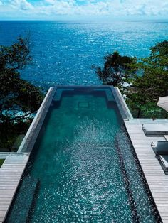This is amazing villa Amanzi, one of Phuket's most beautiful island treasures. Perched on the ocean bluff in a secluded beach of Phuket, Thailand, this luxury villa offers tremendous ocean views. One of the first things you'll notice is the…Read more › Living Pool, Outdoor Living, Beautiful Pools, Beautiful Places, Beautiful Pictures, Beautiful Ocean, Beautiful Life, Moderne Pools, Dream Pools