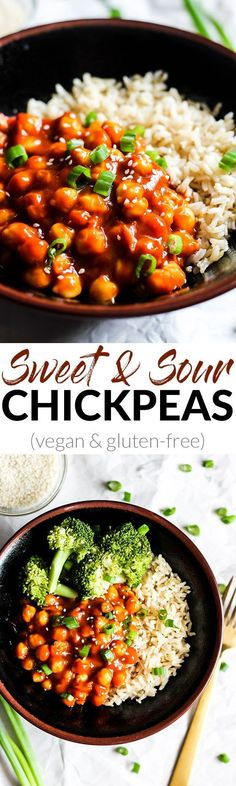 Craving take-out but want a home-cooked meal? Try these Vegan Sweet and Sour Chickpeas over a bed of brown rice and vegetables! They're not too sweet, saucy, and done in 30 minutes.