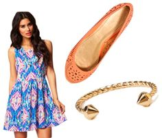 Heading somewhere a li'l dressier to celebrate just how wonderful your mom is? Throw on this swingy paisley patterned frock.  Step into some colorful flats for a classic look with a bit of a twist.  Add a gold bracelet for some extra shine.