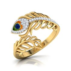 Fatima Jewellers - Offering Anniversary Women's Peacock Feather Ring at Rs in Faizabad, Uttar Pradesh. Peacock Ring, Peacock Jewelry, Feather Ring, Feather Jewelry, Gold Rings Jewelry, Jewelry Design Earrings, Gold Jewellery Design, Necklace Designs, Cz Jewellery
