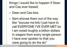 Sam, the greatest Destiel shipper
