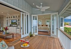 Sliding doors onto porch. Swoon. And French doors too. Beautiful. In my dream home.