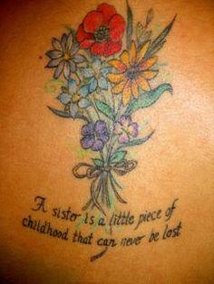 sister Tattoo on back