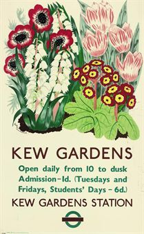 Poster advertising Kew Gardens and the adjacent Kew Gardens Station of the London Underground, London, England, United Kingdom, by Betty Swanwick. London Poster, London Art, London Transport Museum, Railway Posters, Vintage London, London Underground, Kew Gardens, Vintage Travel Posters, Vintage Advertisements