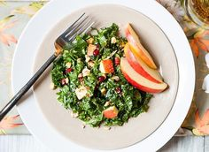 Ribbons of leafy green kale and sweet Stemilt Piñata apple are combined with pomegranate seeds and roasted hazelnuts for a refreshing and healthy salad that gets an added tropical twist when laced with a delicious coconut and orange-infused yogurt dressing.