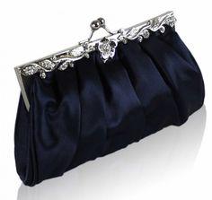 Gothic wedding clutches | Home / Bridal Bridesmaid Navy Blue Pleated Clutch Bag