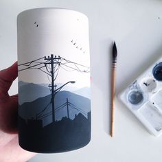 Painting powerlines on landscapes