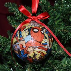 Comic Book Ornaments, Spiderman Ornaments, Christmas Ornaments, Superhero Ornaments by BabyBirdieCreations on Etsy https://www.etsy.com/listing/250937610/comic-book-ornaments-spiderman-ornaments