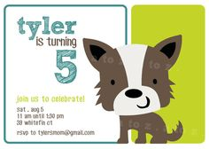 Scruffy dog invite @ Cute from A to Z on Etsy