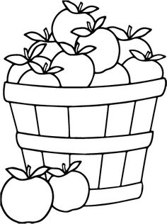 Apple Bushel SVG Design for Silhouette and Cricut Machines Fall Coloring Sheets, Apple Coloring Pages, Food Coloring Pages, Printable Coloring Pages, Free Coloring, Coloring Pages For Kids, Coloring Books, Vegetable Coloring Pages, Apple Baskets