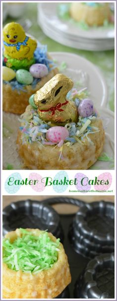 Mini Easter Basket Cakes! A festive dessert that's fun to decorate, filling with colored coconut for grass, candy eggs, and a chocolate bunny or chick, just like an Easter basket! | homeiswheretheboatis.net #Easter #dessert