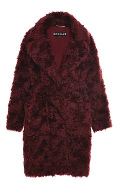 Dark Red Teddy Bear Coat by Rochas for Preorder on Moda Operandi