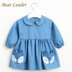 efa522c22cba4 US  12.66 Bear Leader Autumn Denim Dress 2016 New Girls Dress Long Sleeve  Lapel Dot Fox