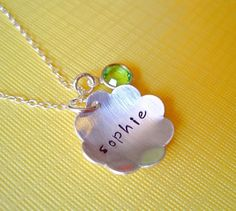 Hand Stamped Jewelry  Flower Pendant  FLOWER GIRL GIFT