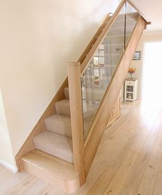 Inline Glass and Oak Staircase Renovation - First Step Designs Glass Stairs Design, Wooden Staircase Design, Home Stairs Design, Wooden Staircases, House Design, Stairs With Glass Panels, Modern Stairs Design, Spiral Staircases, House Staircase