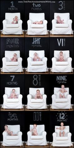 The Photographer's Wife did a great job using a Simplistic Chair with a Black Background and Chalkboard Font, also good with Picmonkey. Monthly Baby Photo Ideas - Track Your Baby's Age in Photos plus FREE Monthly Printable Milestone Stickers and Signs on Frugal Coupon Living.