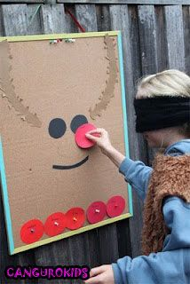 Pin the nose on the reindeer. Decent Christmas Game for Kids to Keep them Entertained During Holiday Parties.
