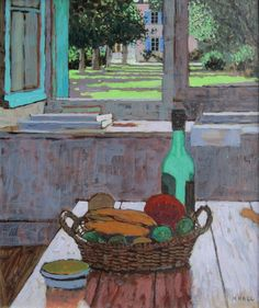Still Life with view of Garden by Mike Hall from Bell Fine Art, Winchester, Hampshire, UK