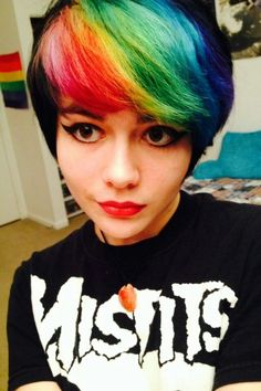I love the mix a short cut and the black hair in the back then BAM rainbow