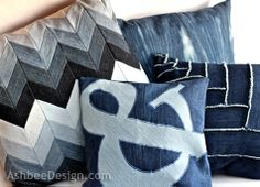 Ashbee Design: Old Jeans Recycled into Ampersand Pillow #4  Machine applique with any symbol, number or letter.